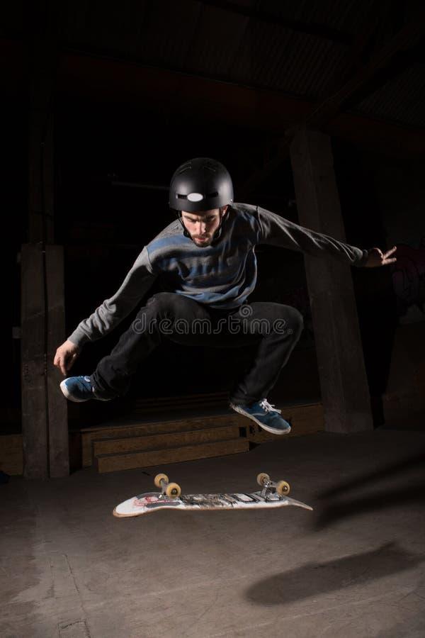 Free Skater Doing Kickflip Trick Royalty Free Stock Image - 31010336