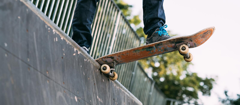 Skater hobby leisure lifestyle man feet ramp stock photos