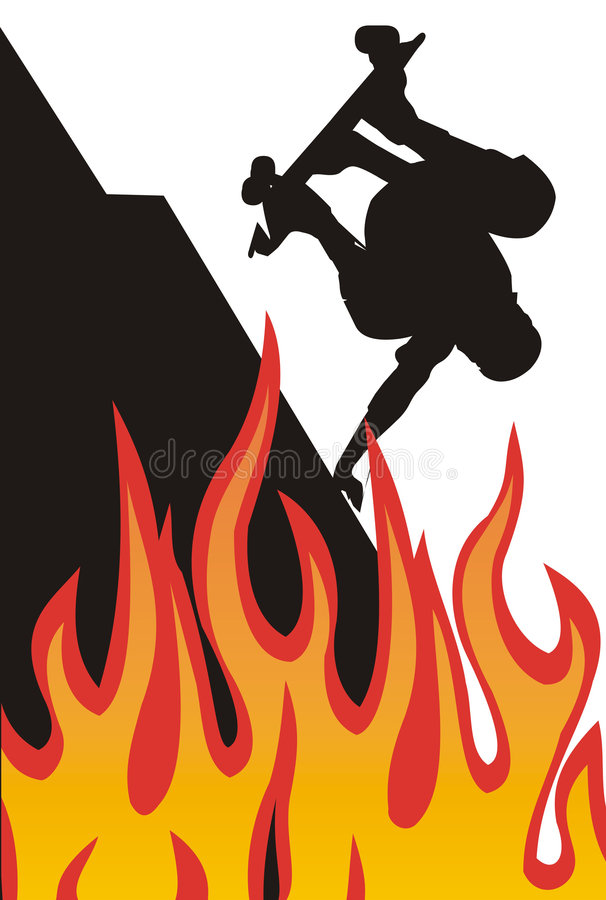 Skater on fire royalty free illustration