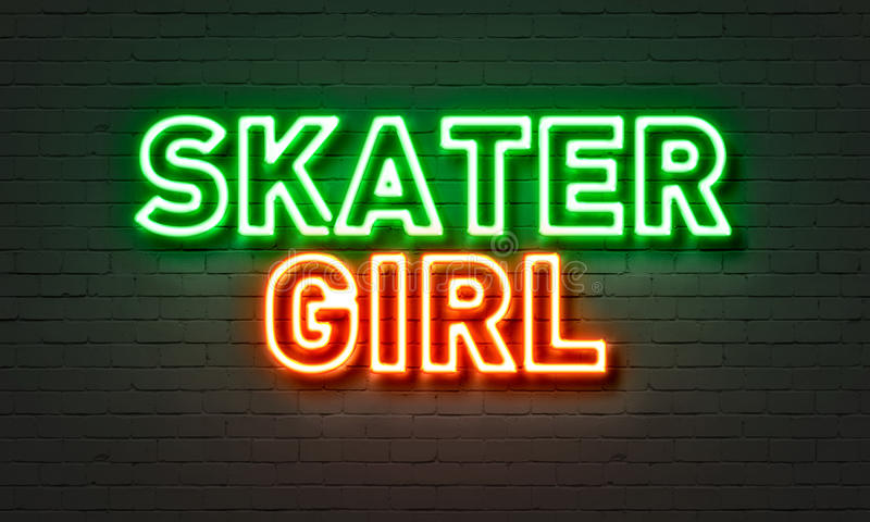 Skater girl neon sign on brick wall background. royalty free illustration