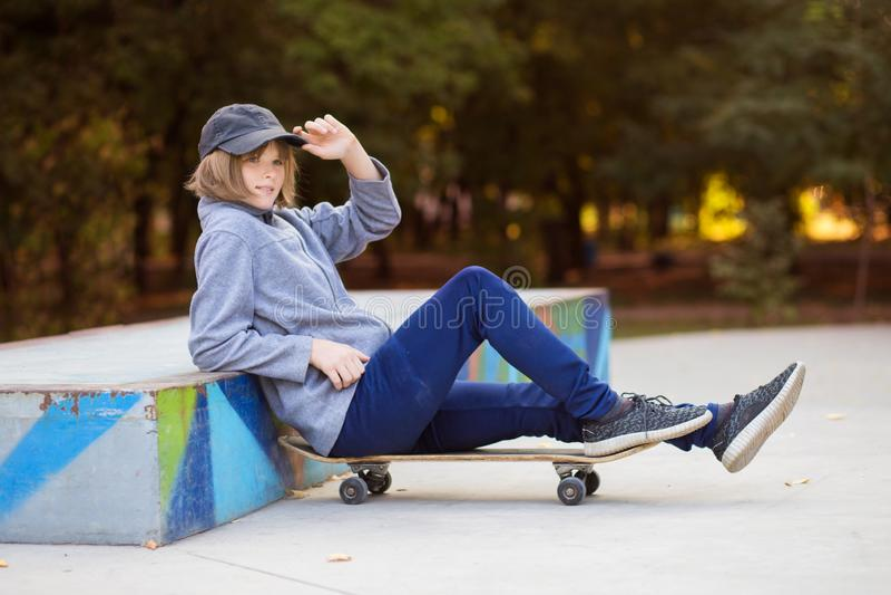 Skater Girl On Skatepark Moving On Skateboard Outdoors