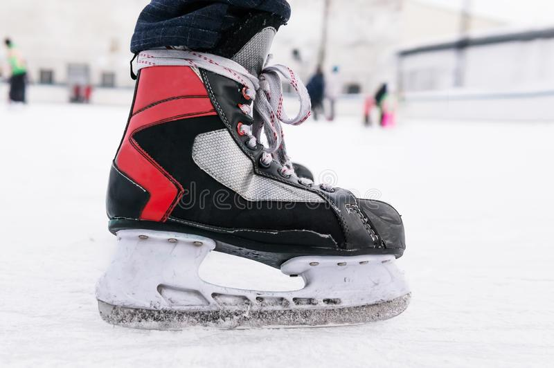 Skater on ice skating rink, sport and fun royalty free stock photography