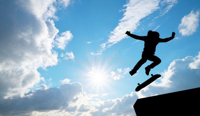 Skater jump silhouette stock image