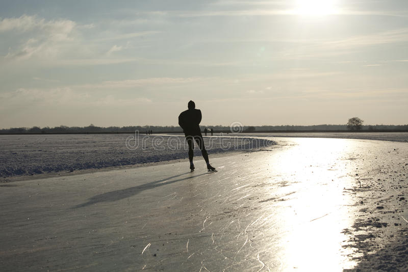 Download Skater On Natural Ice In The Netherlands Stock Image - Image: 23337769