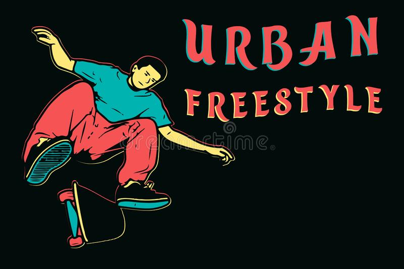 Skater novo isolado à moda em calças de brim e nas sapatilhas vermelhas skateboard Ilustração do vetor para um cartão ou um carta ilustração stock
