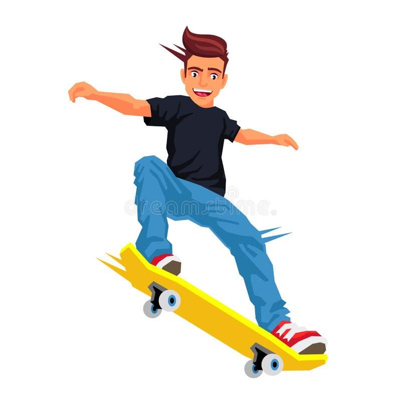 Skater que faz um truque em um skate ilustração do vetor