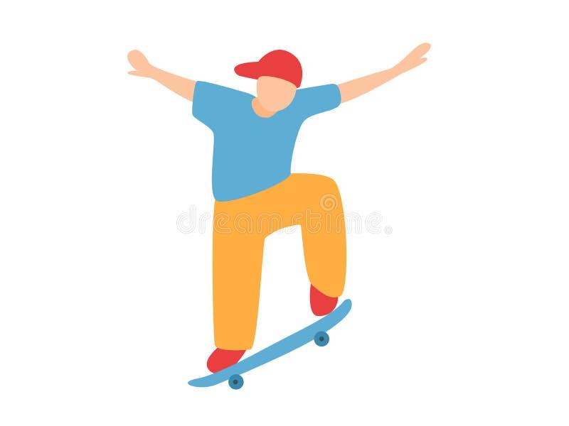 Skater que hace un truco de salto en el monopat?n libre illustration