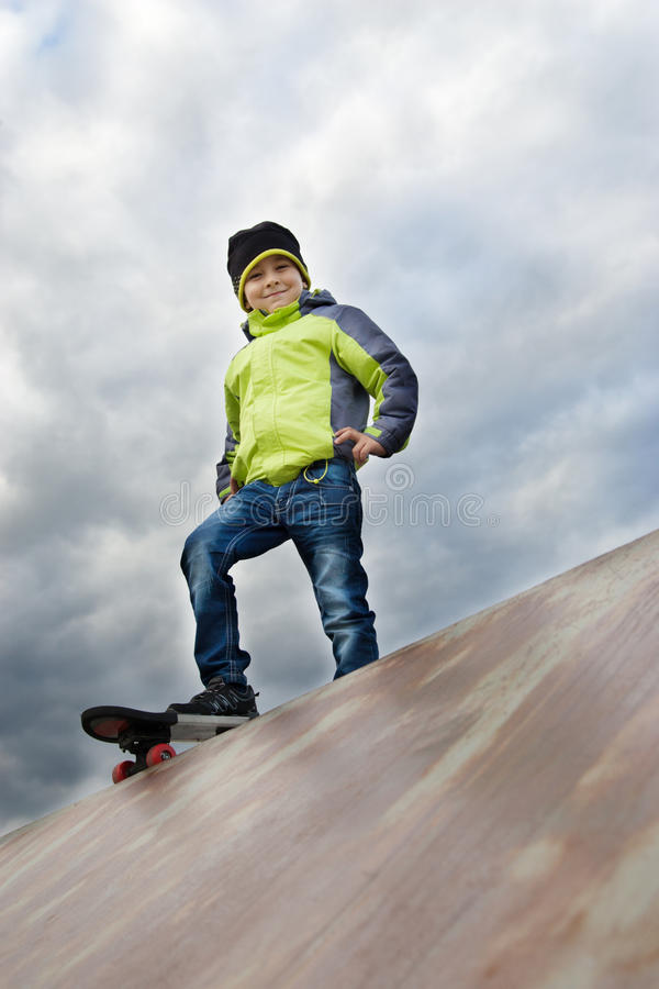 Skater training on the table stock images