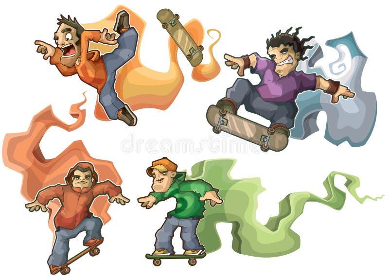 Skateres que realizan los trucos aislados ilustración del vector