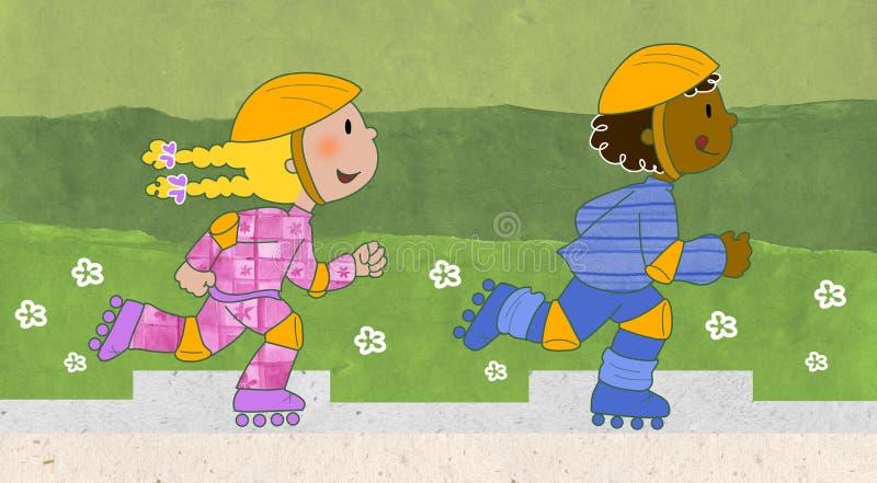 Skaters boy and girl stock illustration