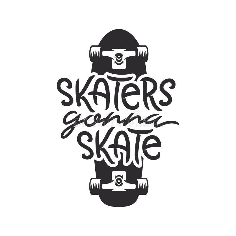 Free Skaters Gonna Skate T-shirt Design. Vector Vintage Illustration. Stock Photos - 107804363