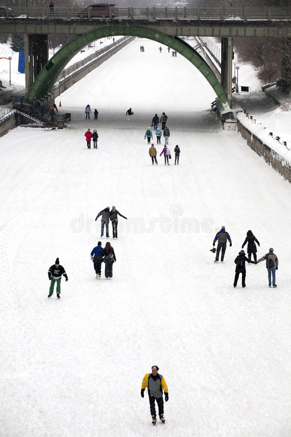 Download Skaters On The Rideau Canal, Ottawa, Ontario Editorial Stock Image - Image of rink, skating: 18274389