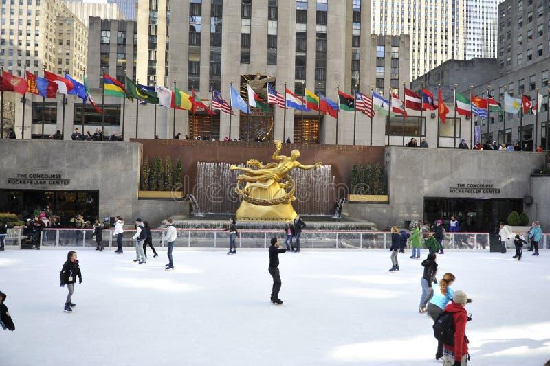 Skaters in Rockerfeller center in New York City stock images