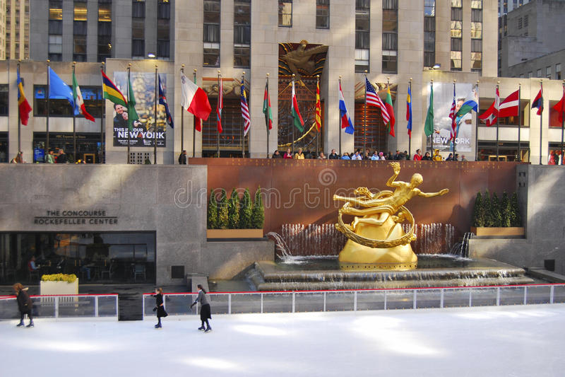 Skaters, Rockerfeller centre, NYC royalty free stock photo