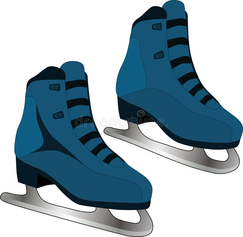 Skates. Winter sports dancing shoe leather leisure vector illustration