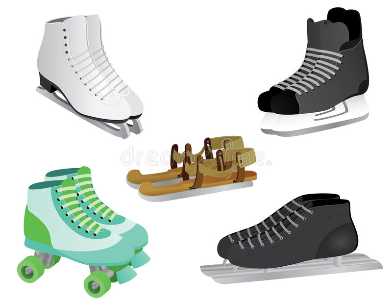 Skates. 5 different skates, from ice skates to rollerskates, from modern skates to old fashioned wooden skates. Vector file: - EPS8 - JPG included - Please note royalty free illustration