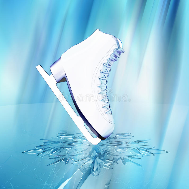 The skates for figure skating. Close up view of The skates for figure skating and a snowflake on skating rink ice stock illustration