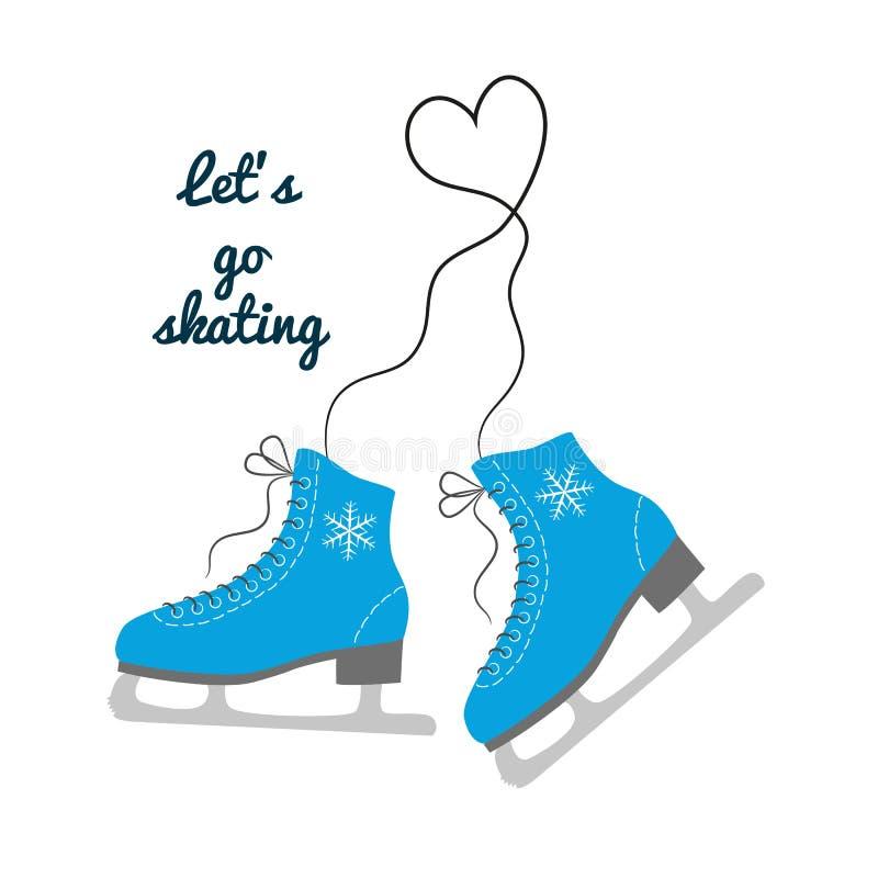 The skates icon with text. `Let`s go skating`. Figure skates symbol. Flat Vector illustration vector illustration