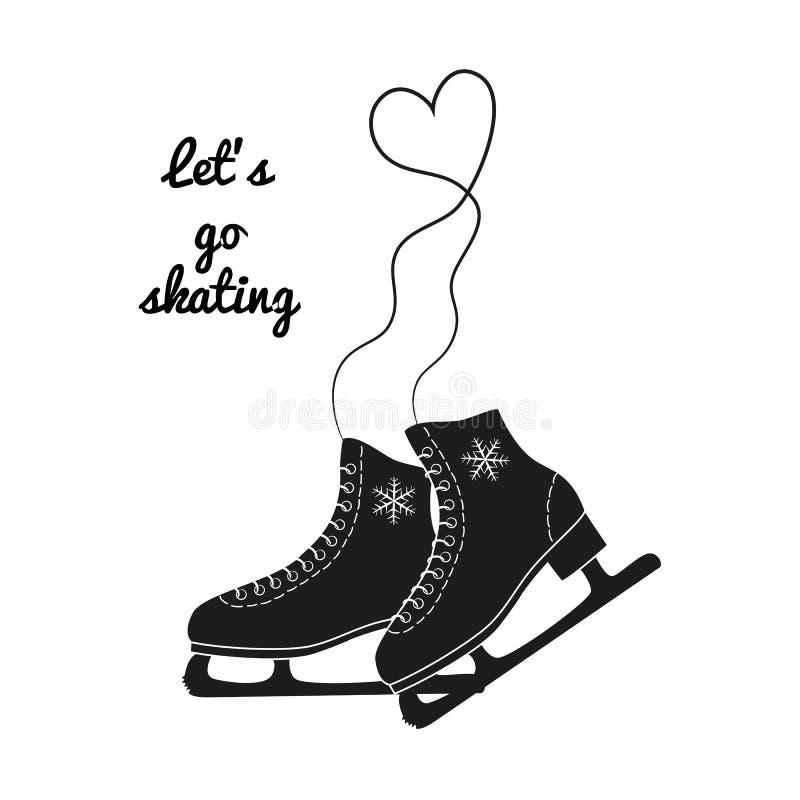 The skates icon with text. `Let`s go skating`. Figure skates symbol. Flat Vector illustration royalty free illustration