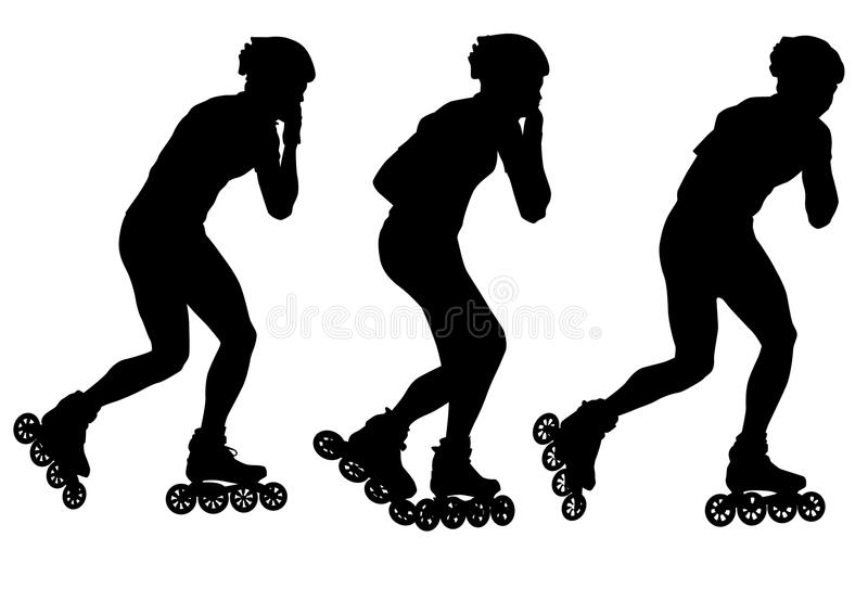 Skates man. Drawing athletes on skates. Silhouette people stock illustration