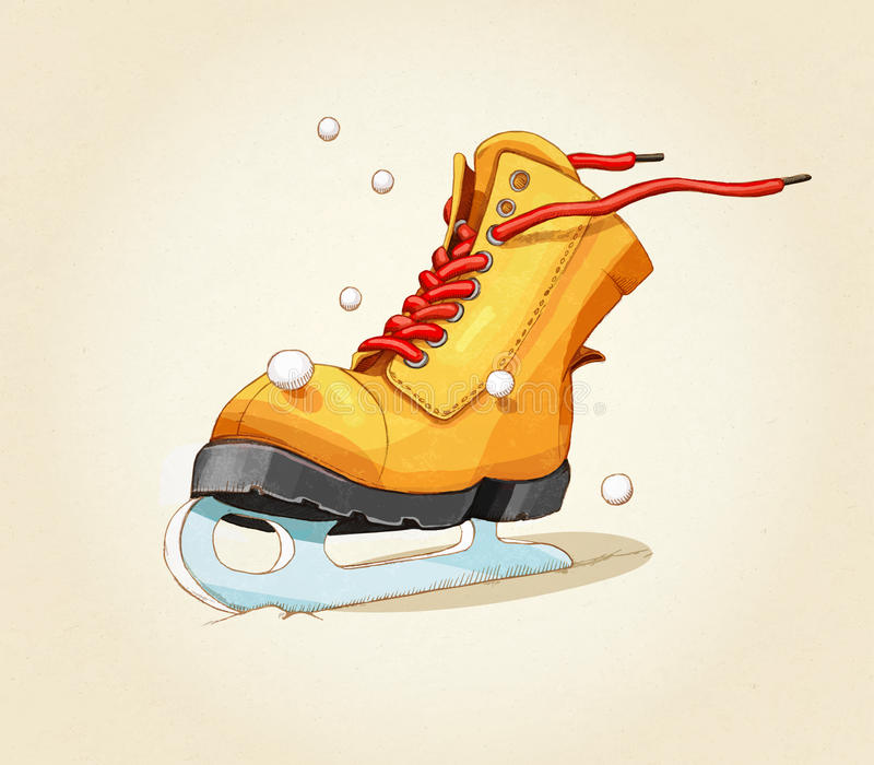 Skates. Shoes. Retro style. Merry Christmas and happy New Year. 2017. Christmas background. Greeting card. Sample text. Illustration merry and bright shoe vector illustration