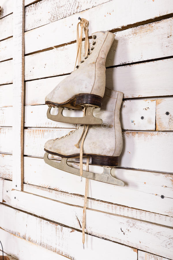 Skates on the wall. An element of decor royalty free stock images