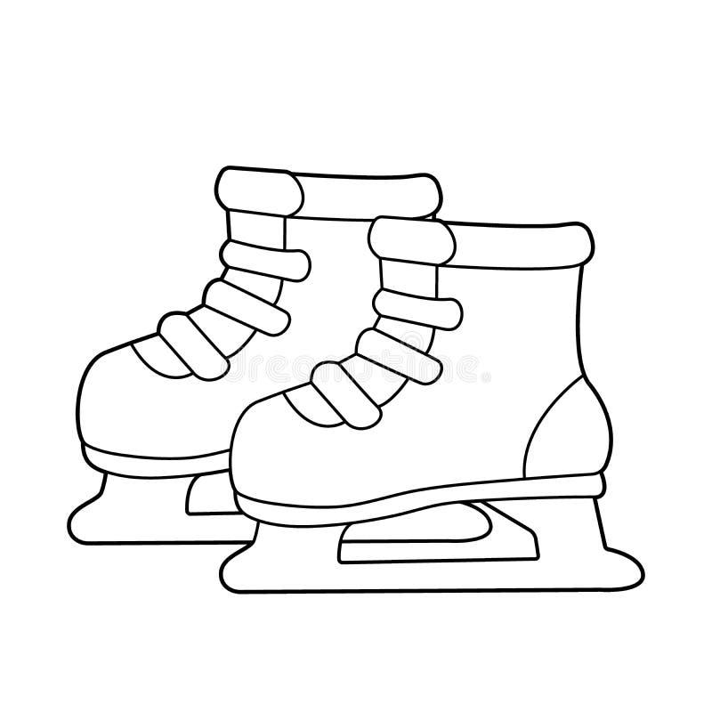 Skates. Winter sports. Coloring book for kids stock illustration