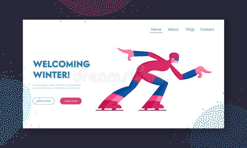 Skating Athlete Competing Website Landing Page. Speed Skater Woman Skating on Ice Rink, Short Track Race Skater. Run to Finish Winter Sport Competition Web Page stock illustration