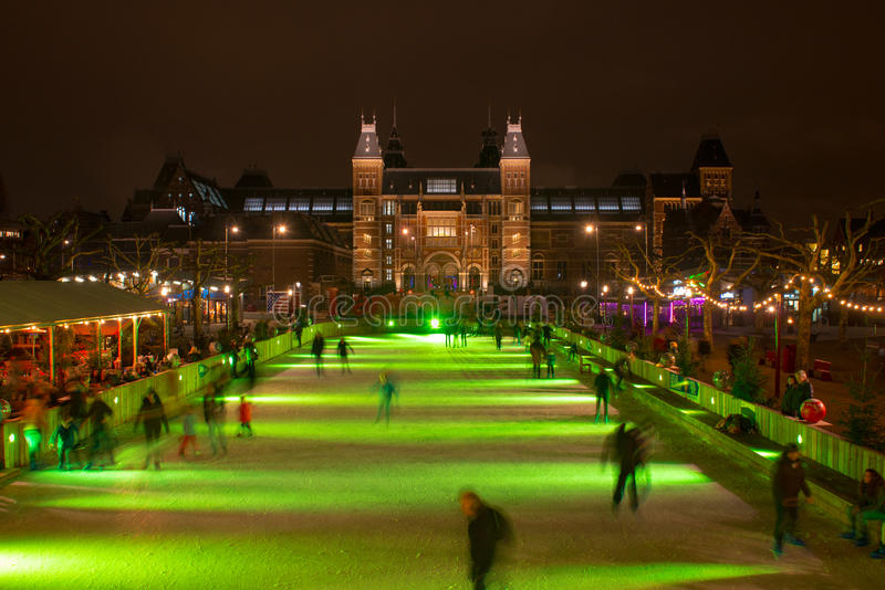 Skating on a christmas ice rink. At the Museumsquare, Amsterdam stock photo