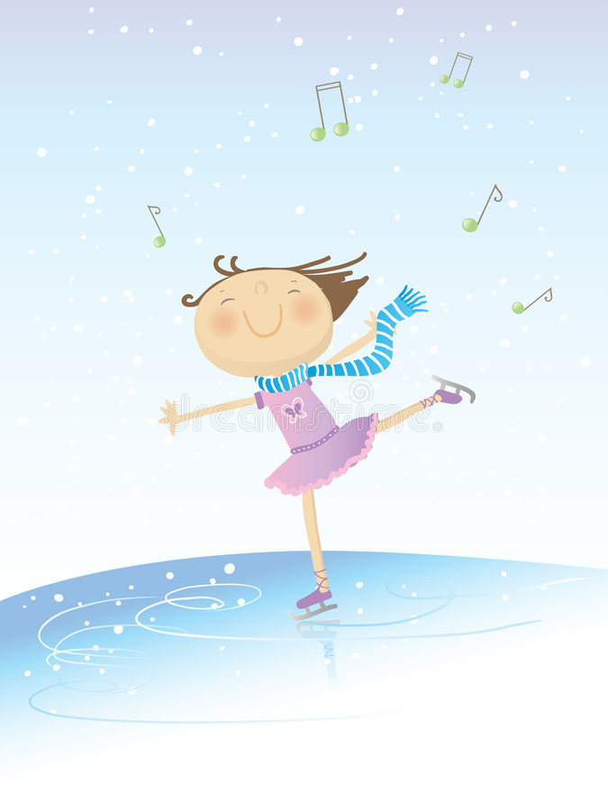 Skating girl. Vector illustration of a little happy girl skating on music on winter background