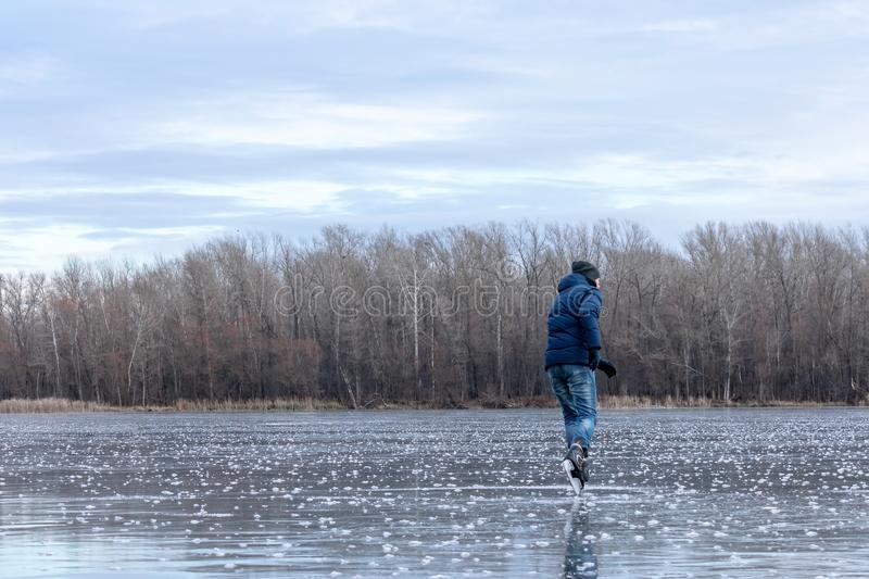 Skating on the lake stock photography