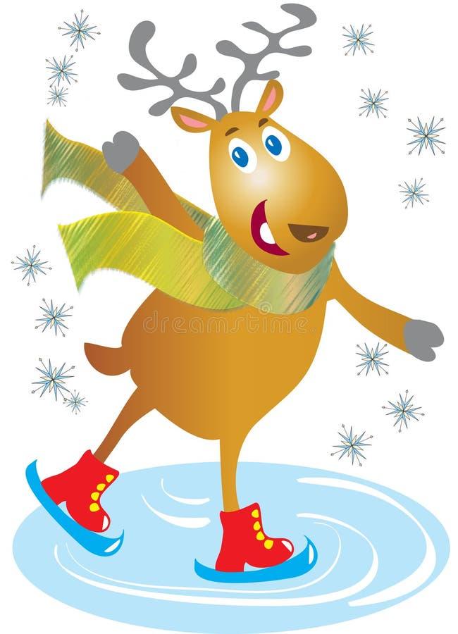 Skating reindeer royalty free illustration