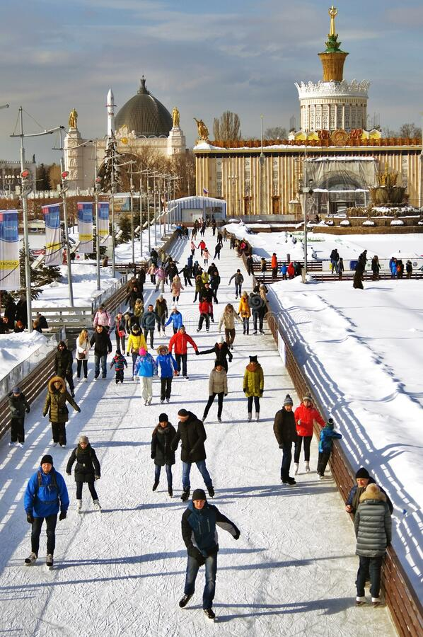 Free Skating Rink At VDNKH Park In Moscow. Royalty Free Stock Photography - 207378157