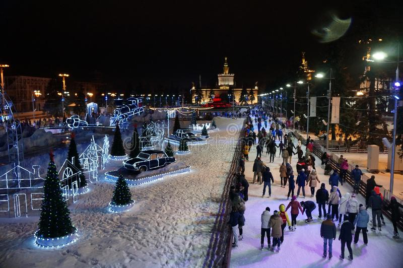 Skating rink in Moscow on the all-Russian Exhibition Area. The view from the top. Christmas vacation royalty free stock image