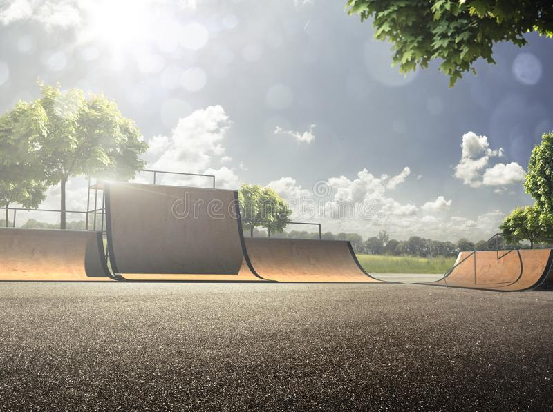 Empty skating park in the sunny day royalty free stock image
