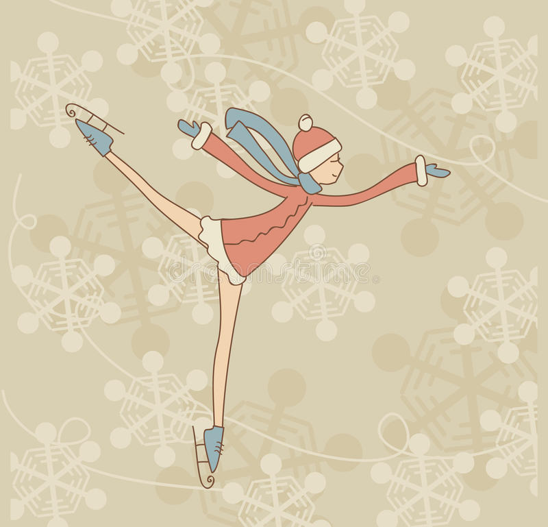 Skating teenage girl stock illustration