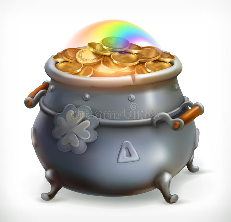 Skatt för dag för Patrick ` s kruka för myntguld gears symbolen royaltyfri illustrationer