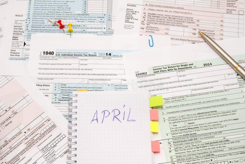 skatt för 1040 datalista arkivfoto