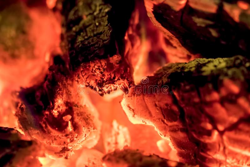 Skatt för kolutsläpp Brännande träglöd i närbild arkivbild