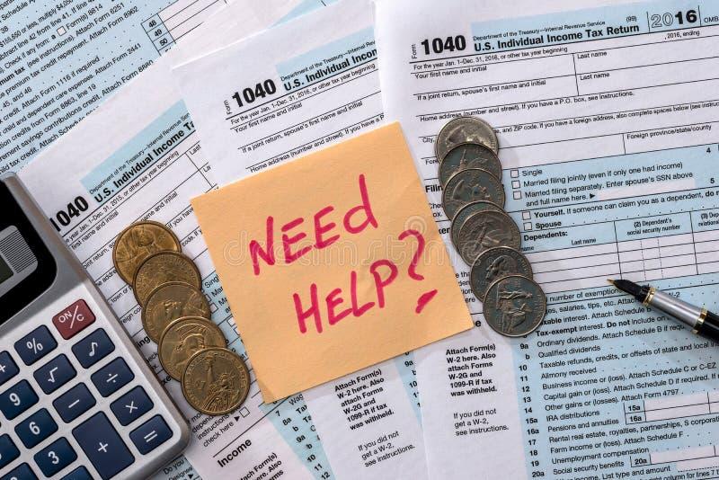 skatt för pengarberäkningsform 1040 arkivbilder