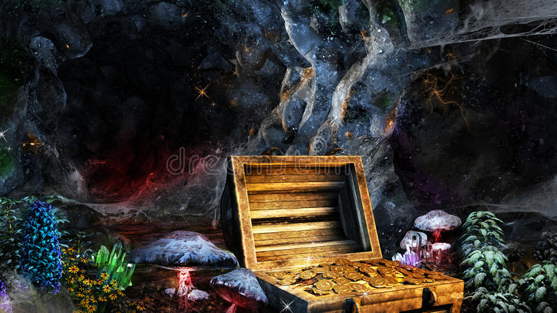 Skatt i grottan stock illustrationer