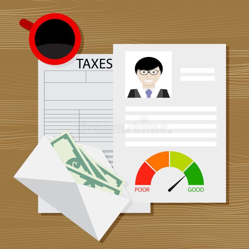 Skatt på kreditering stock illustrationer