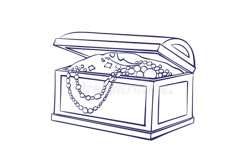 Skattask för lagring av smyckenöversikten Casket med guld- mynt, halsband �artoonvektorillustrationen isolerade på vektor illustrationer