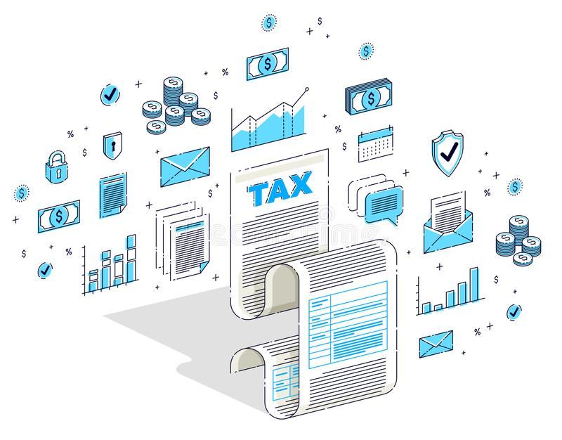 Skattbegrepp, skattform eller lagligt dokument för pappers- ark som isoleras på vit bakgrund Isometrisk finansillustration för ve royaltyfri illustrationer