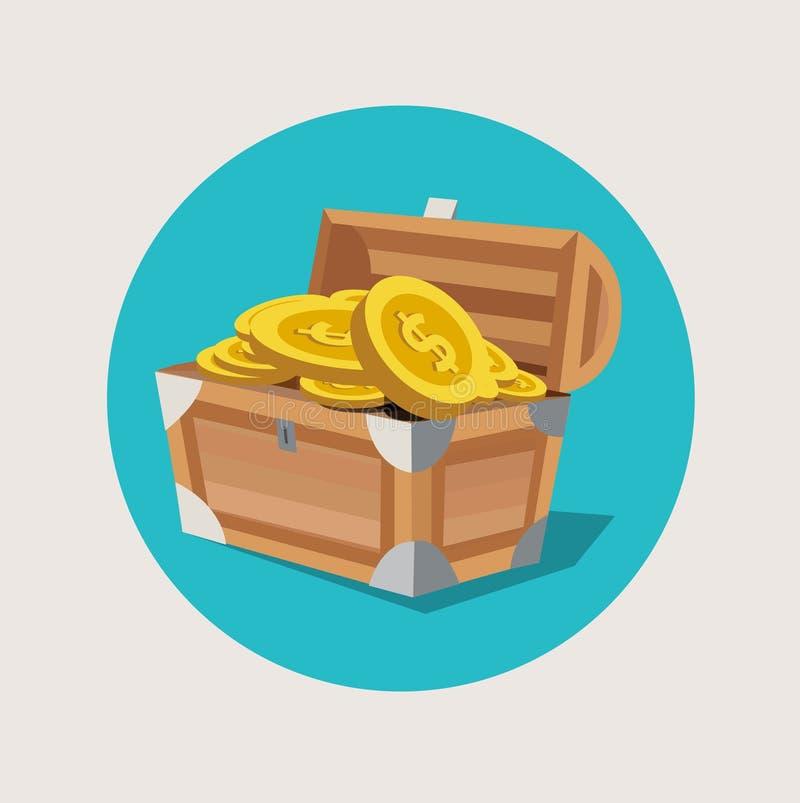 Skattbröstkorgen med guld- mynt sänker symbolen stock illustrationer