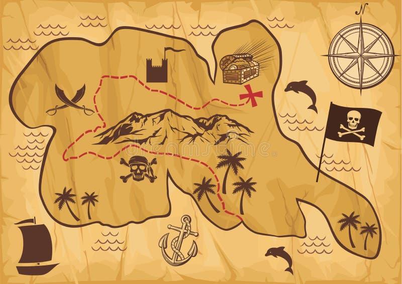 Kartlägga av skattön royaltyfri illustrationer