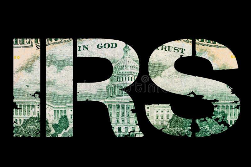 Skattpengar Irs-tecken som göras med pappers- Förenta staternapengar på mörker royaltyfri fotografi