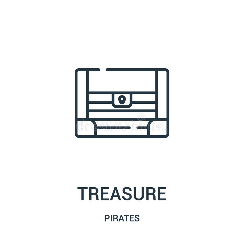 skattsymbolsvektorn från piratkopierar samlingen Tunn linje illustration för vektor för skattöversiktssymbol Linjärt symbol för b stock illustrationer