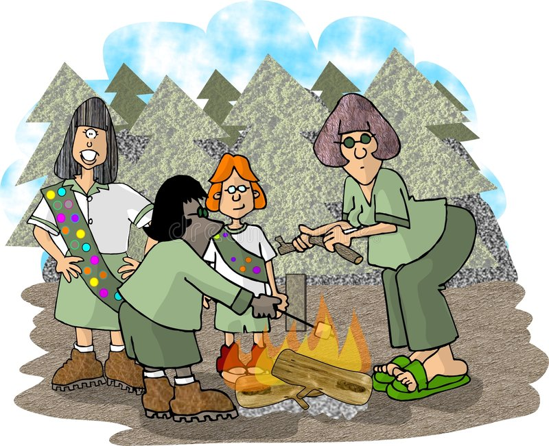Download Skautka oddział ilustracji. Ilustracja złożonej z obóz, nastoletni - 49764