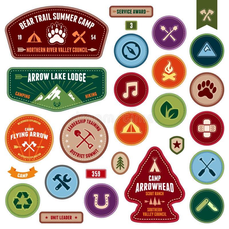 Skautowskie odznaki ilustracja wektor